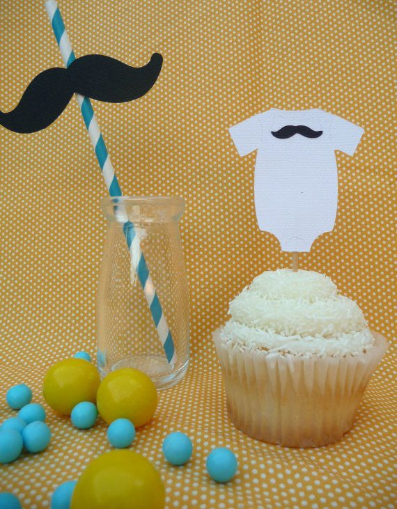 Onesie Mustache cupcake toppers Set of 12 Little Man Mustache Bash ANY COLOR via Etsy