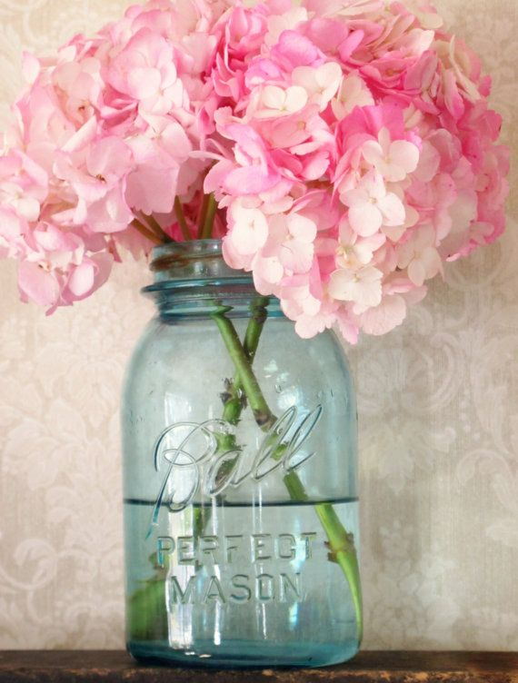 10 must have rustic wedding ideas hydrangea mason jar this jar would go well with my coffee filter flowers and so totally match my decor junglespirit Choice Image