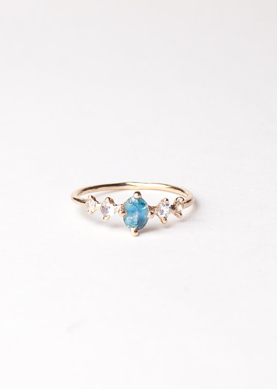 415f0350a Mermaid Sapphire Ring, Teal Blue Oval Montana Ethical Wedding Engagement  Ring in 14K Gold