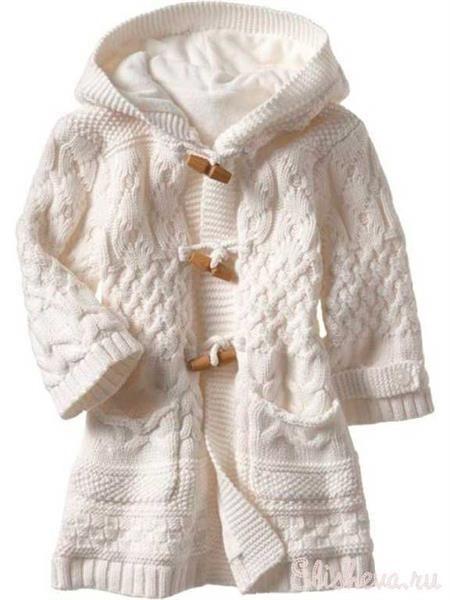 Вязаное пальто для девочек схема бесплатно спицами