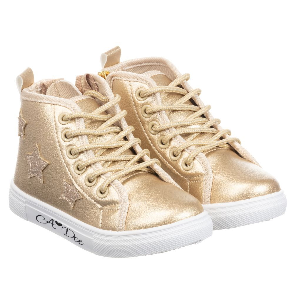 A Dee Girls Gold High-Top Trainers