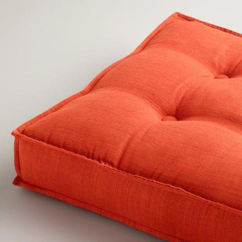 Orange Khadi Tufted Floor Cushion | World Market | For the Nest ...