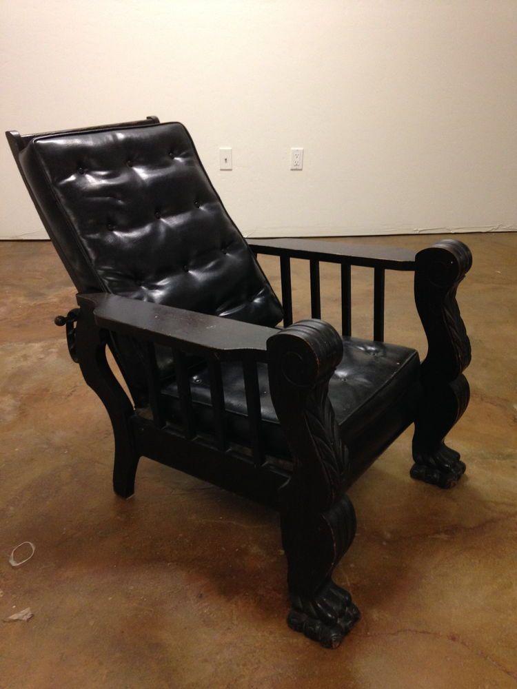 Antique, Black, Oak Larkin Morris Recliner, 1900 1950. Antique  FurnitureReclinersRecliner