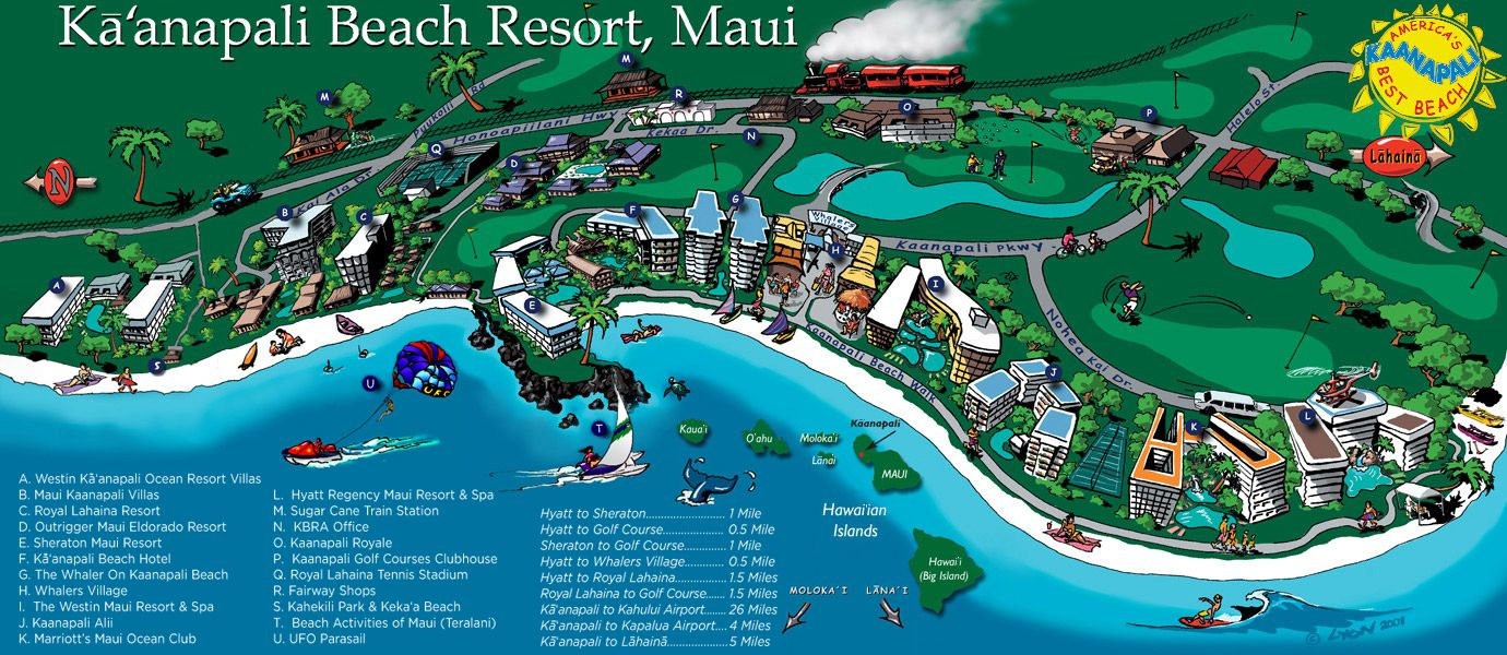 Map Of Kanapali Beach Here Is A The Ka Anapali Resorts Click On Image To