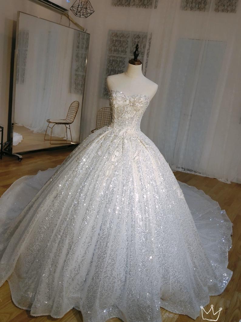 Luxury Ballgown Wedding Dress With Cape Princess Style Etsy Bling Wedding Dress Sparkly Wedding Dress Cream Wedding Dresses [ 1059 x 794 Pixel ]