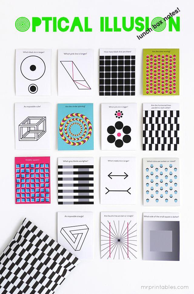 diy optical illusion printable lunch box notes printables   Design ...