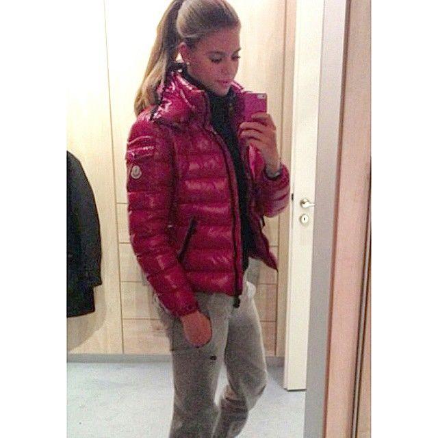 26640ba0c Sexy girl posing in her pink Moncler jacket.  puffyjacket  moncler ...