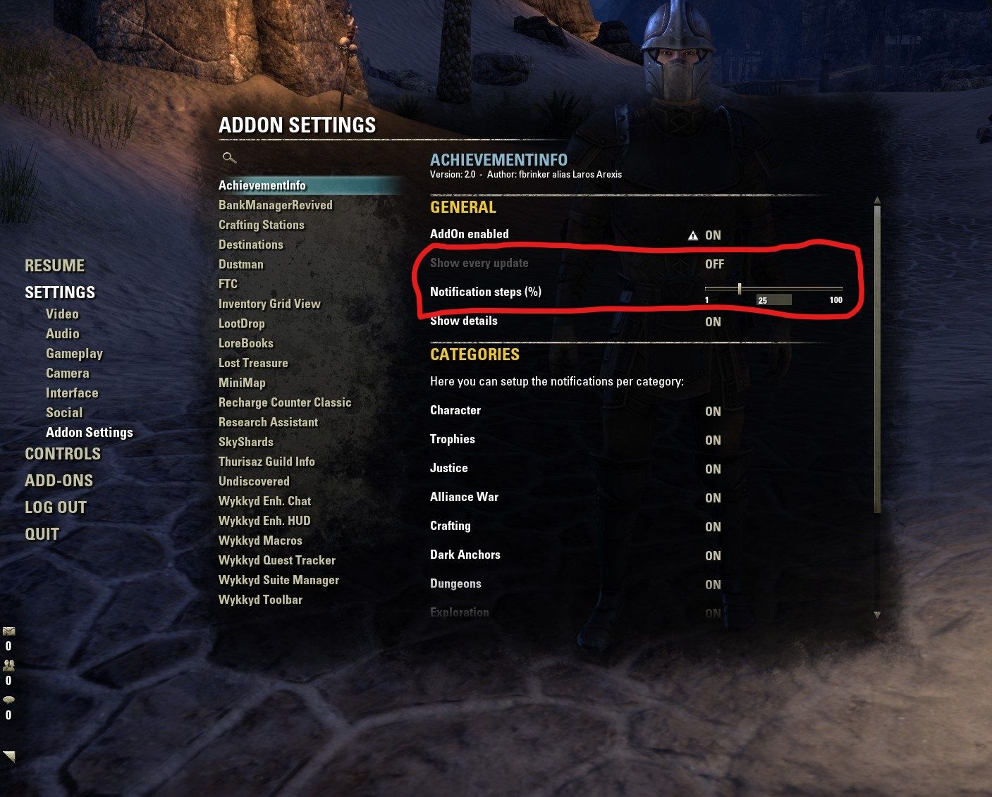 AchievementInfo : Character Advancement : Elder Scrolls