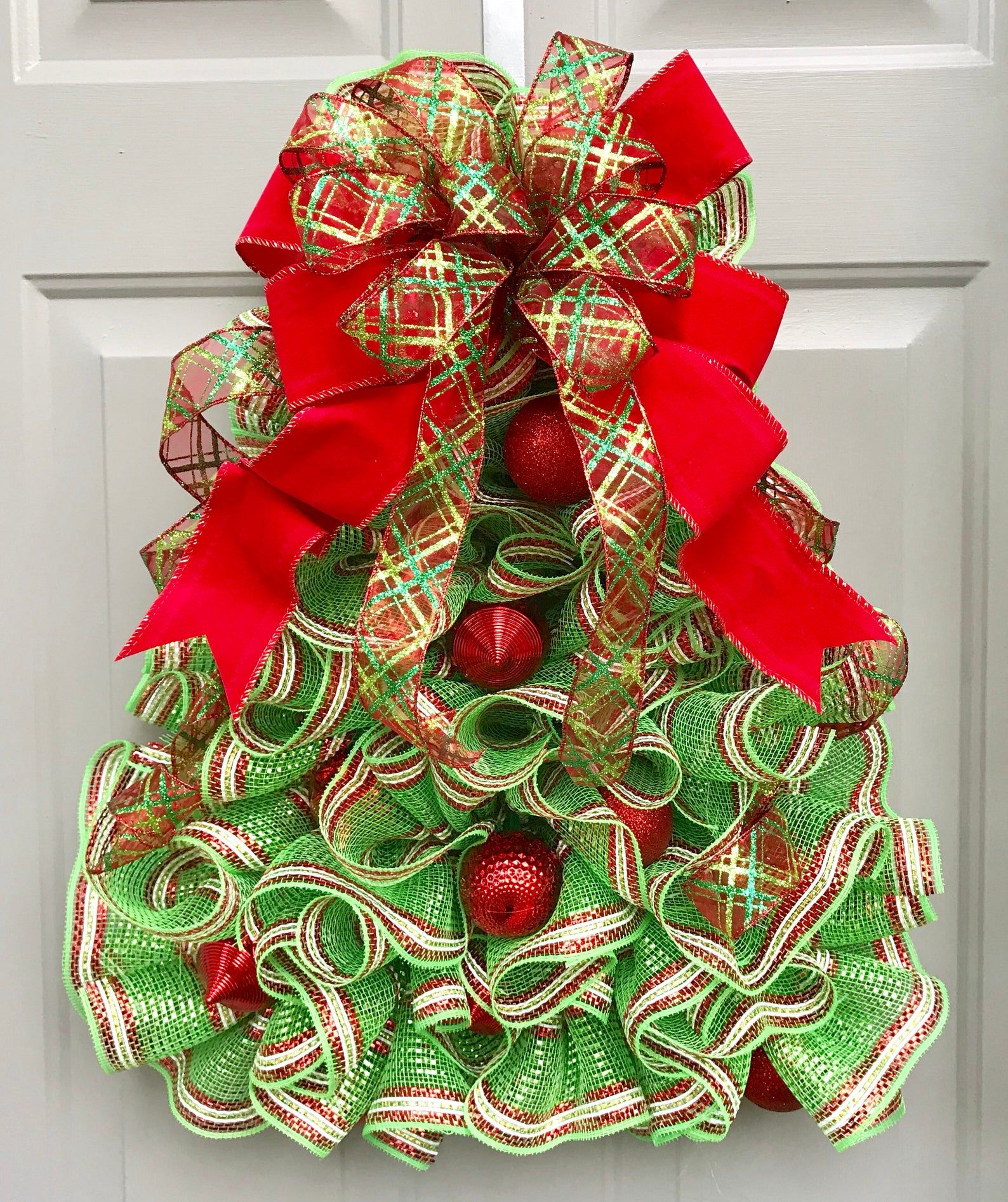 Christmas Tree Deco Mesh Wreath Ornament Wreath Etsy