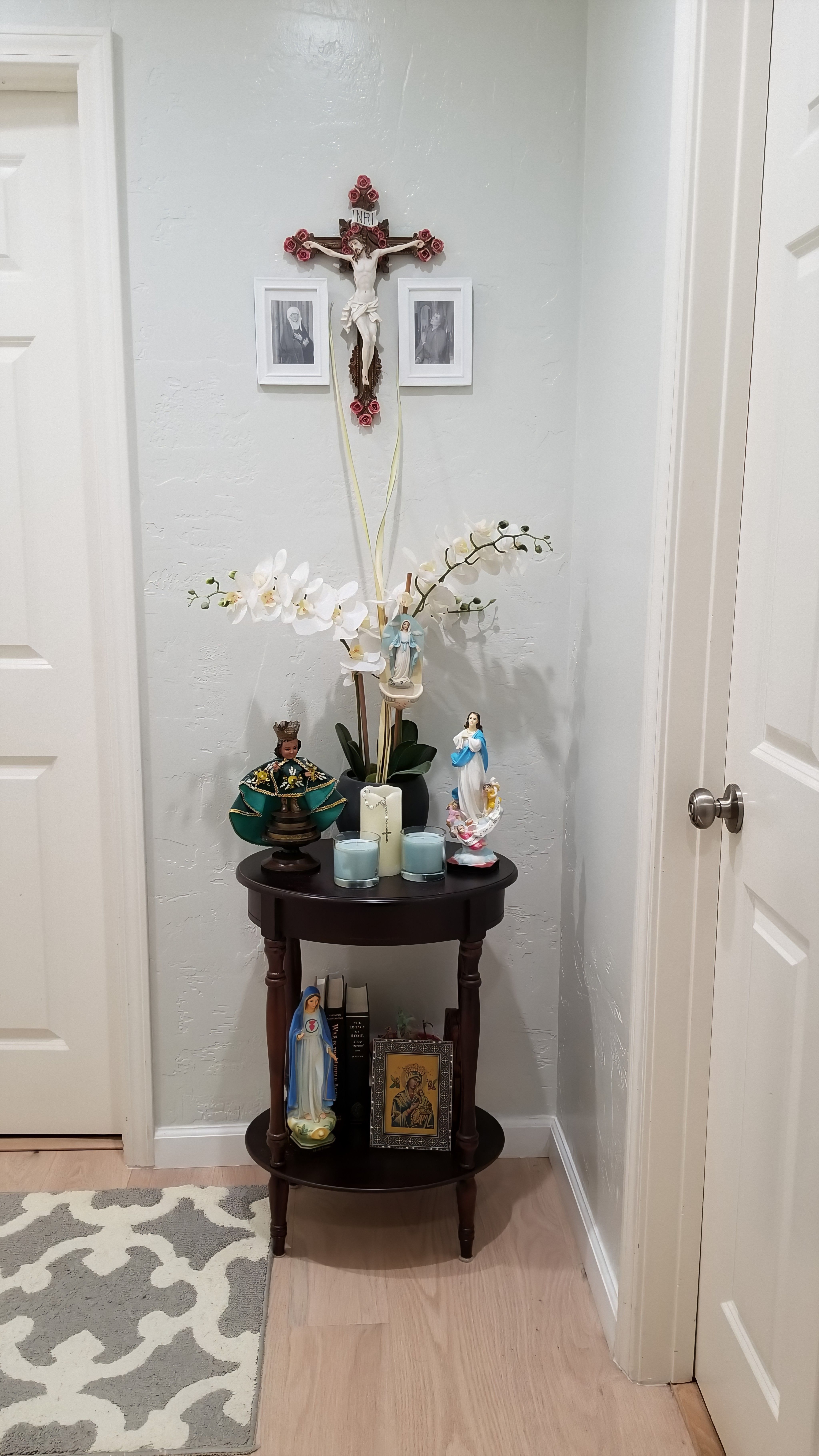 My Home Altar Prepared For A Lovely At Home Easter Sunday Home Altar Catholic Catholic Decor Catholic Wall Decor Catholic home decor dining room