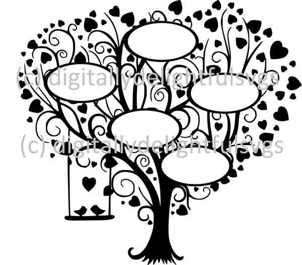 Family Tree 5 svg Tree silhouette, Free family tree