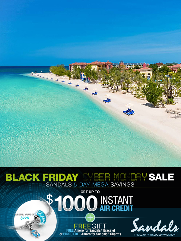 978083617552e Book your Sandals Resort vacation over Black Friday Cyber Monday weekend  and receive your choice of a free Amoro for Sandals® gift