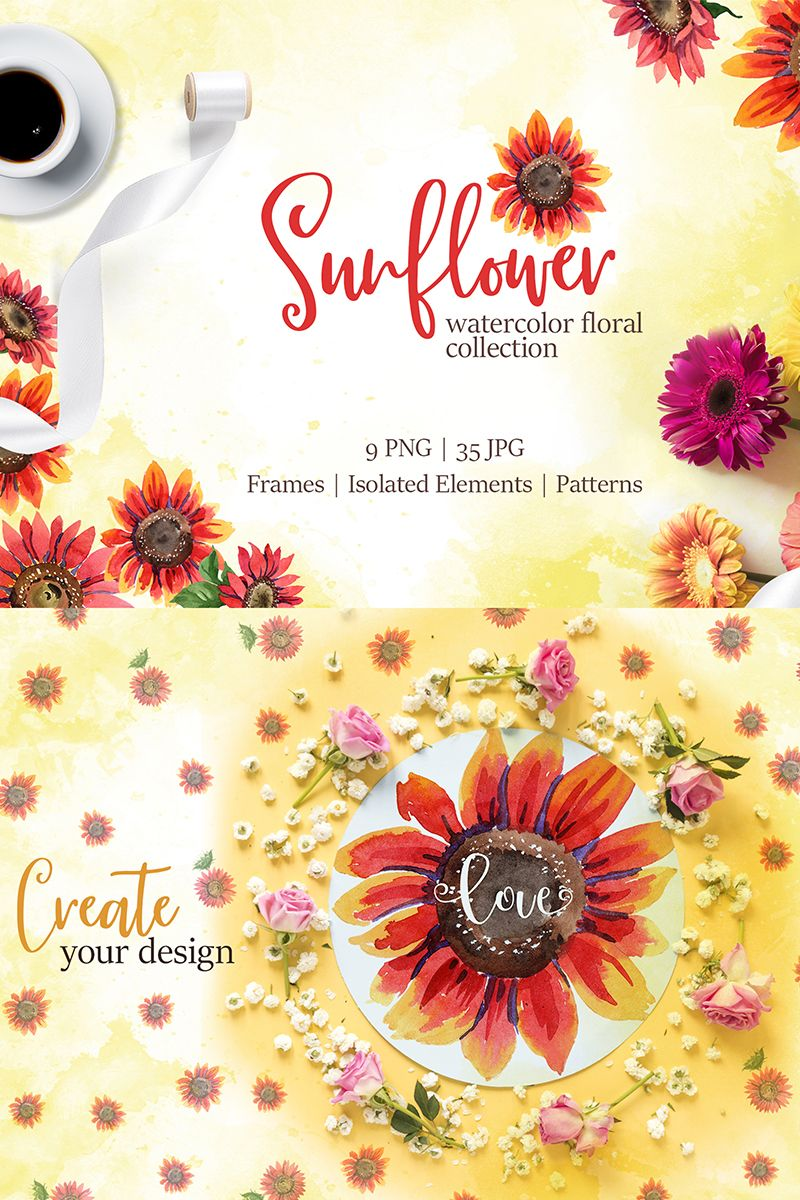 watercolor sunflower poster design inspiration wedding invitations clip art diagram design  [ 800 x 1200 Pixel ]