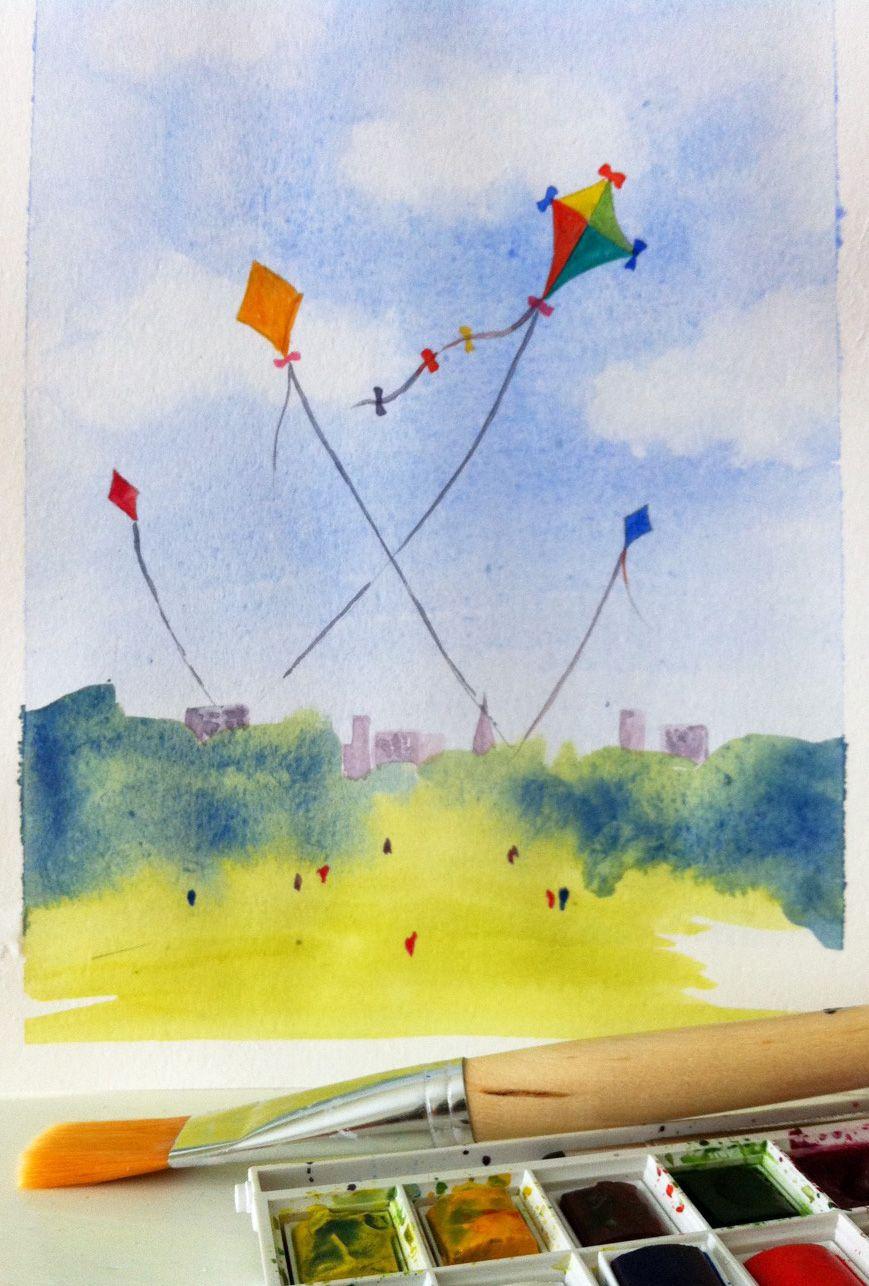 Watercolour Kites Painted At Artpad Coastal Painting Painting
