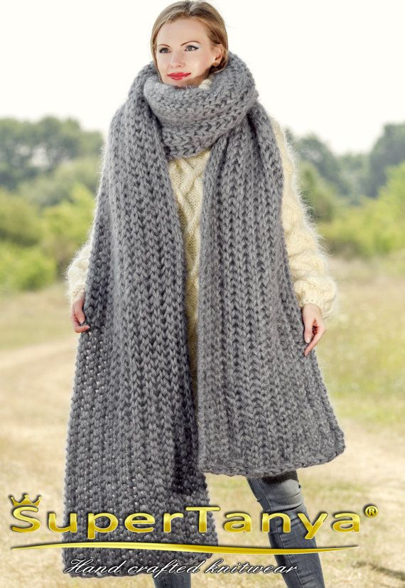 extra long hand knitted mohair scarf medium grey fuzzy shawl handmade with 5 strands mohair by. Black Bedroom Furniture Sets. Home Design Ideas