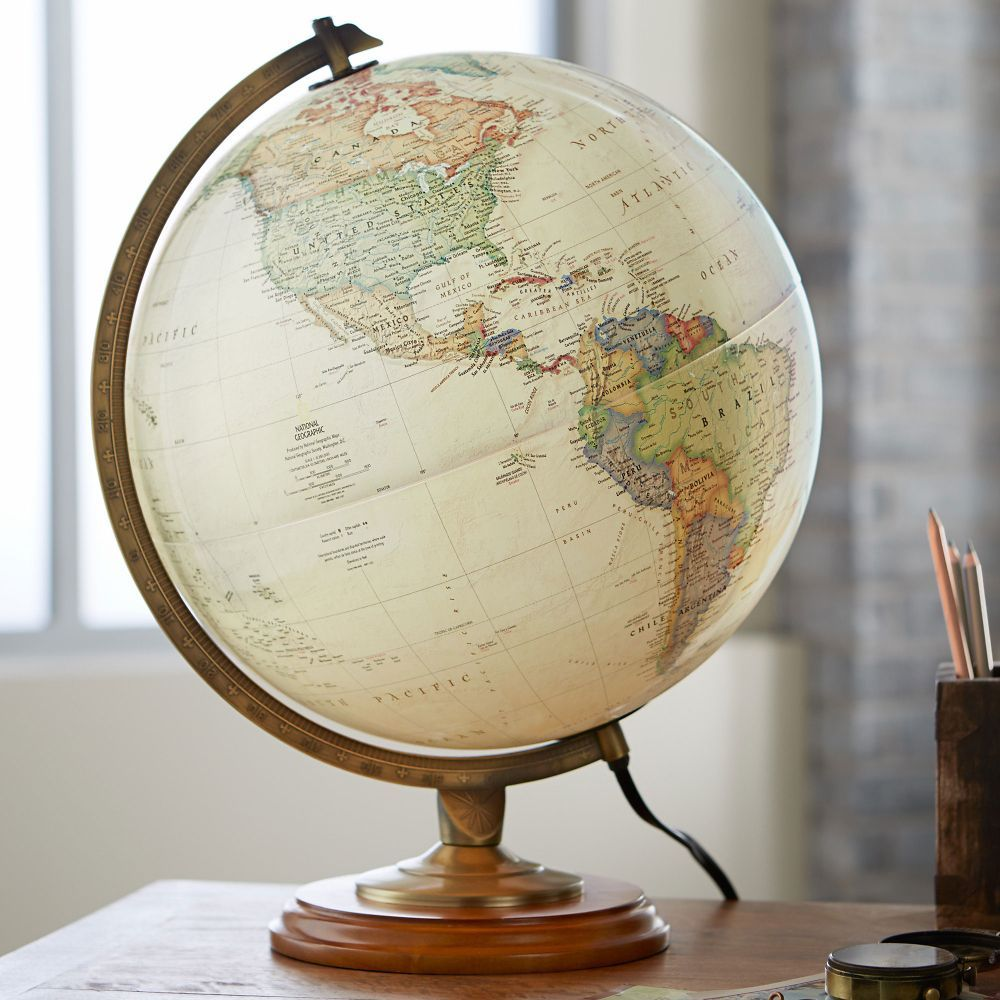 Illuminate your office or living room with a handsome globe that     Adams Illuminated Globe