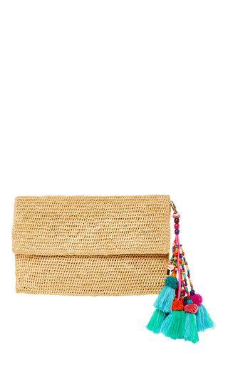 2df03f88a1 This **Heidi Wynne** Edgartown Raffia Clutch feateures an envelope design  in raffia as well as a detachable colorful beads and tassels detailing.
