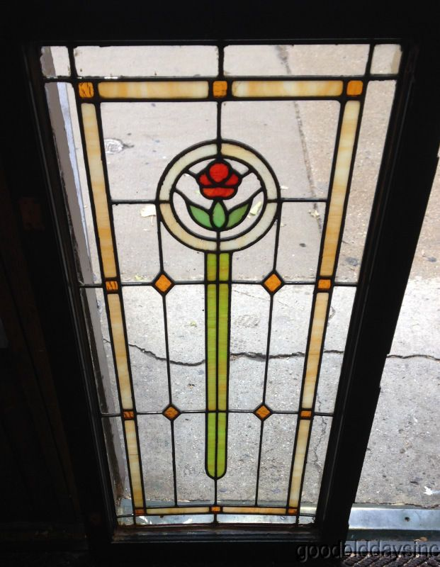 Antique 1920's Chicago Bungalow Stained Leaded Glass Door / Window 45