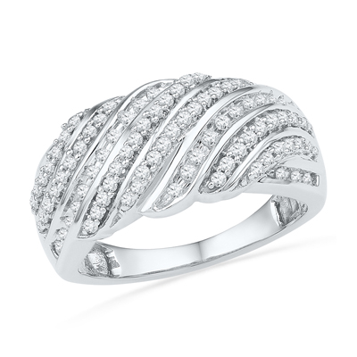 Zales 1/2 CT. T.w. Enhanced Blue and White Diamond Slant Multi-Row Band in Sterling Silver laDxaZ