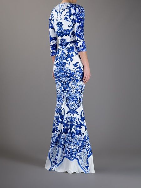 dcfe0639e Roberto Cavalli Printed Fishtail Dress in Blue - Lyst | blue and ...