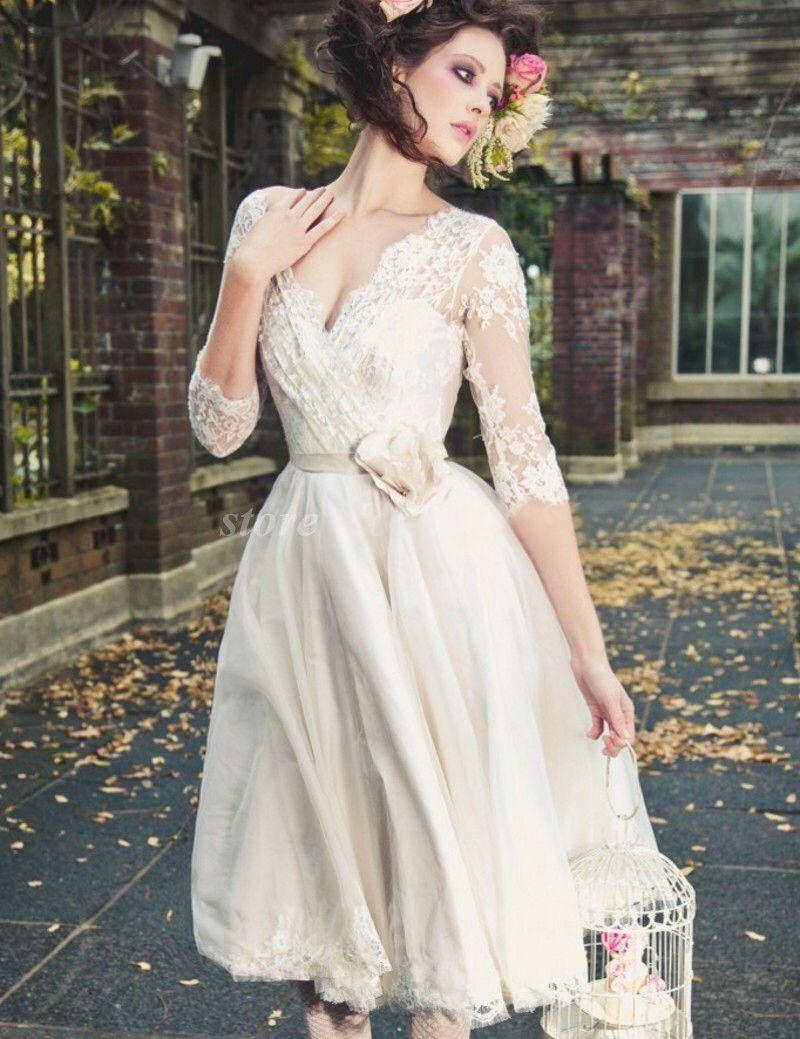 Fashion romantic white short wedding dresses low v neck lace