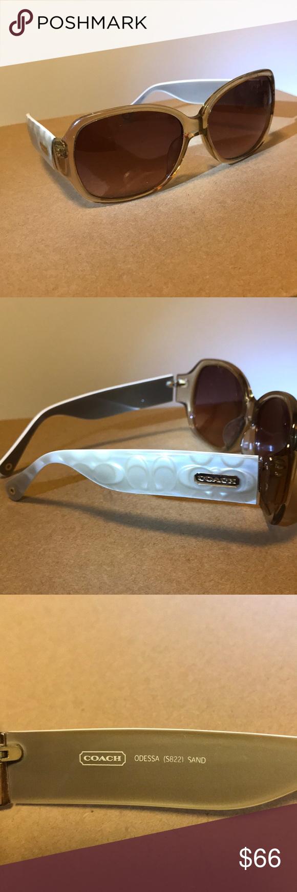c18a91ed58eb Coach Woman's Sunglasses Beige/ Cream Coach Woman's Sunglasses ODESSA  (5822) Sand / Monogram Sides Gold Coach Details Original Case Not Available  Coach ...