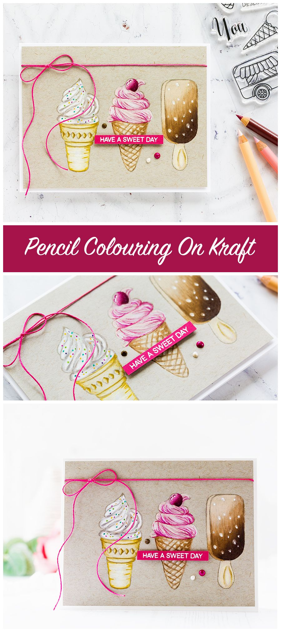 Pencil colouring on kraft card for this ice cream trio handmade card by Debby Hughes. Find out more here: http://limedoodledesign.com/2017/08/pencil-colouring-on-kraft/