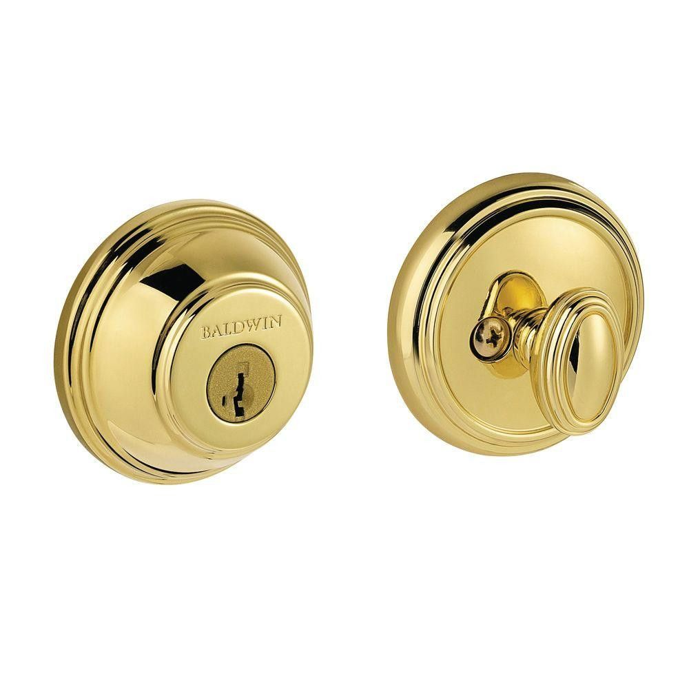 Baldwin 380 RDB L03 SMT CP RCAL Prestige Single Cylinder Polished Brass Round Deadbolt