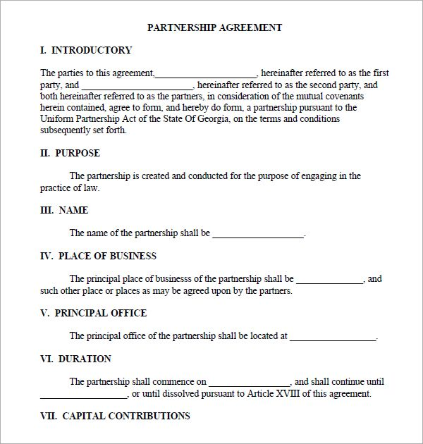 Printable Sample Partnership Agreement Sample Form Real Estate - credit agreement