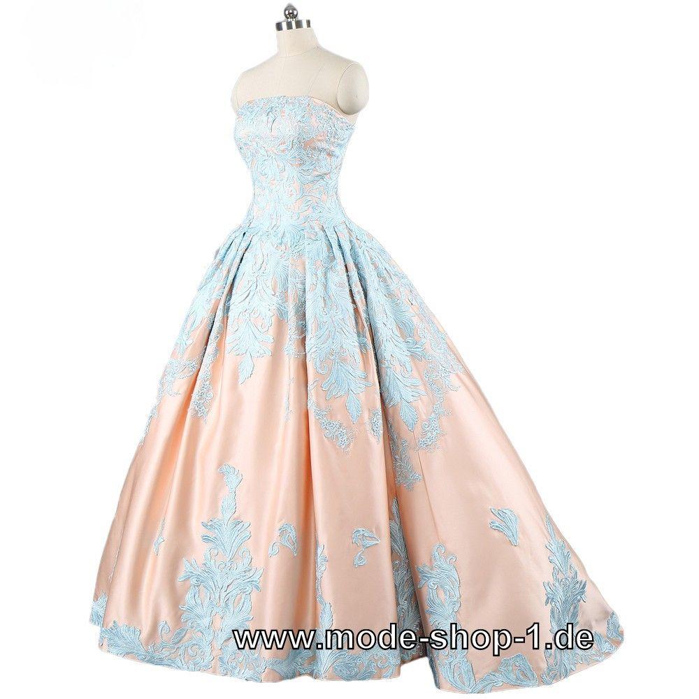 Ballkleid 17 Gisela in Lachs Blau  Aussergewöhnliche kleider