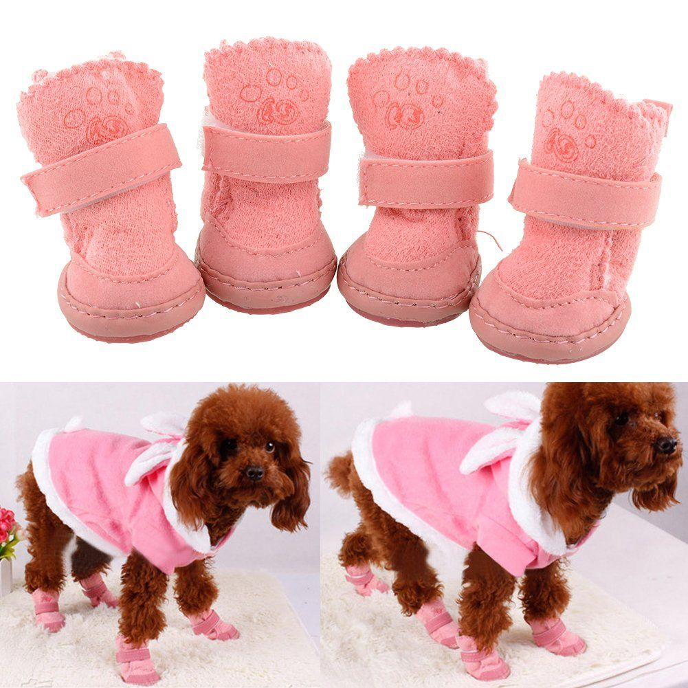 Amazon com: 4Pcs Lovely Warm Adjustable Pet Dog Puppy Winter Cotton
