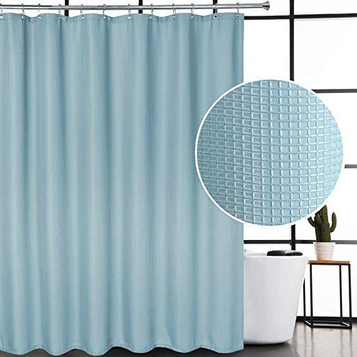 Amazon Com Caromio Blue Shower Curtain Modern Waffle Weave