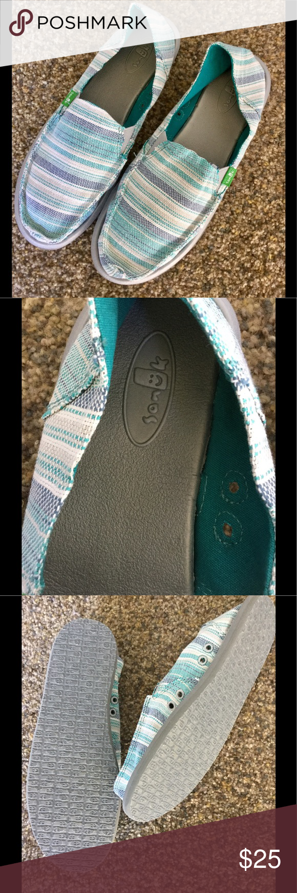 Sanuk loafers Nwot purple,teal, and white loafers Sanuk Shoes Flats & Loafers