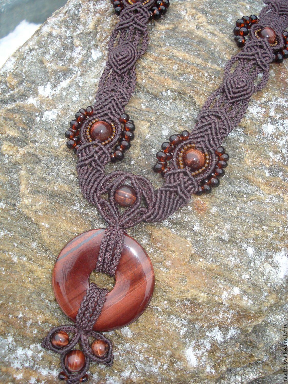 """Купить Колье """"Для любимой"""" - коричневый, макраме украшения, украшения ручной работы, украшение"""