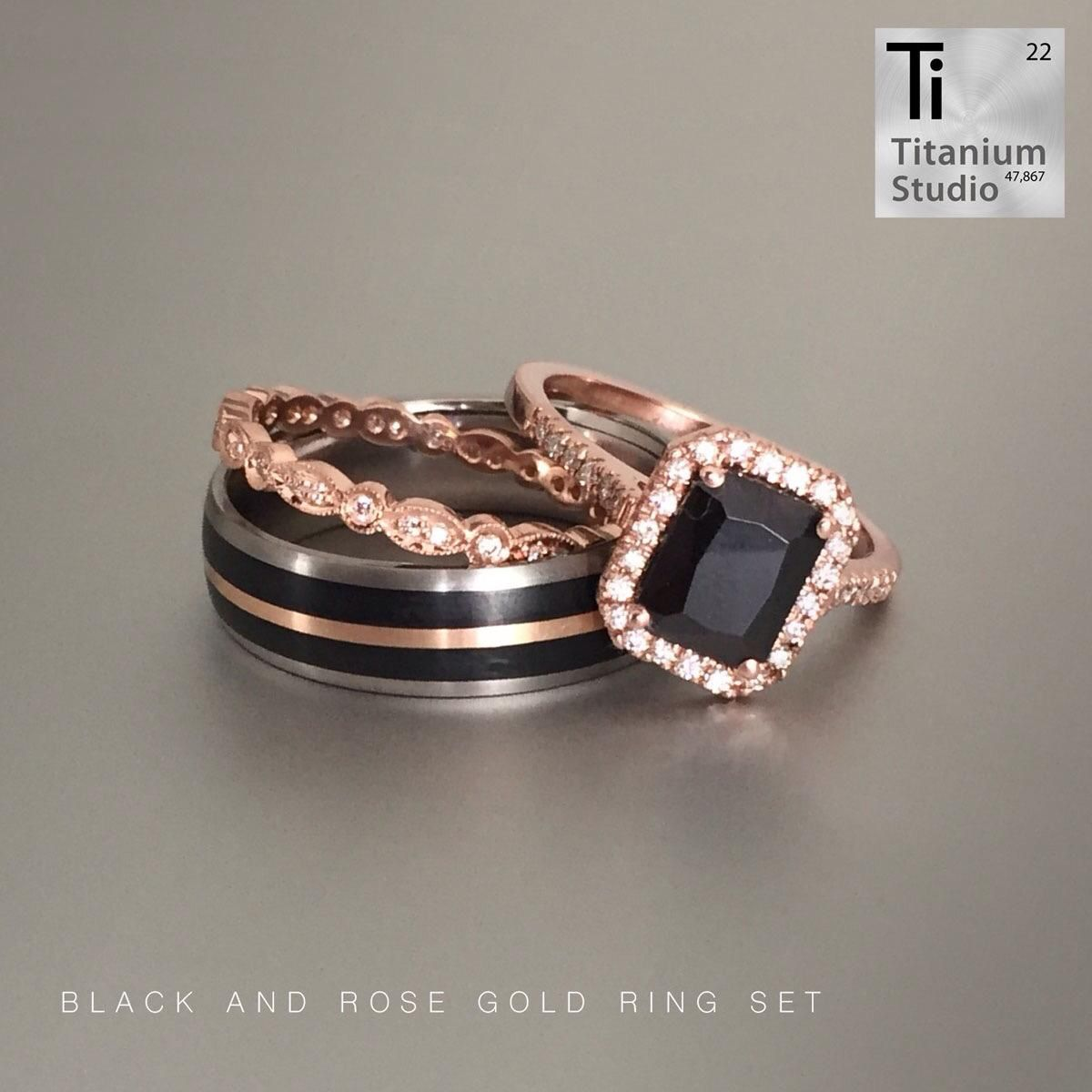 His And Hers Black And Rose Gold Rings Black Diamond Wedding Rings Black Diamond Rose Gold Engagement Ring Black Wedding Ring Sets