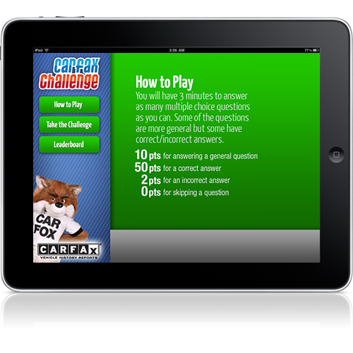 An iPad app we did for Carfax    we love Larry and his team