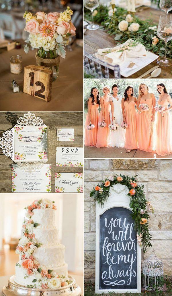 Peach Flower Inspiration Weddings With Ivory Laser Cut Wedding Invitations