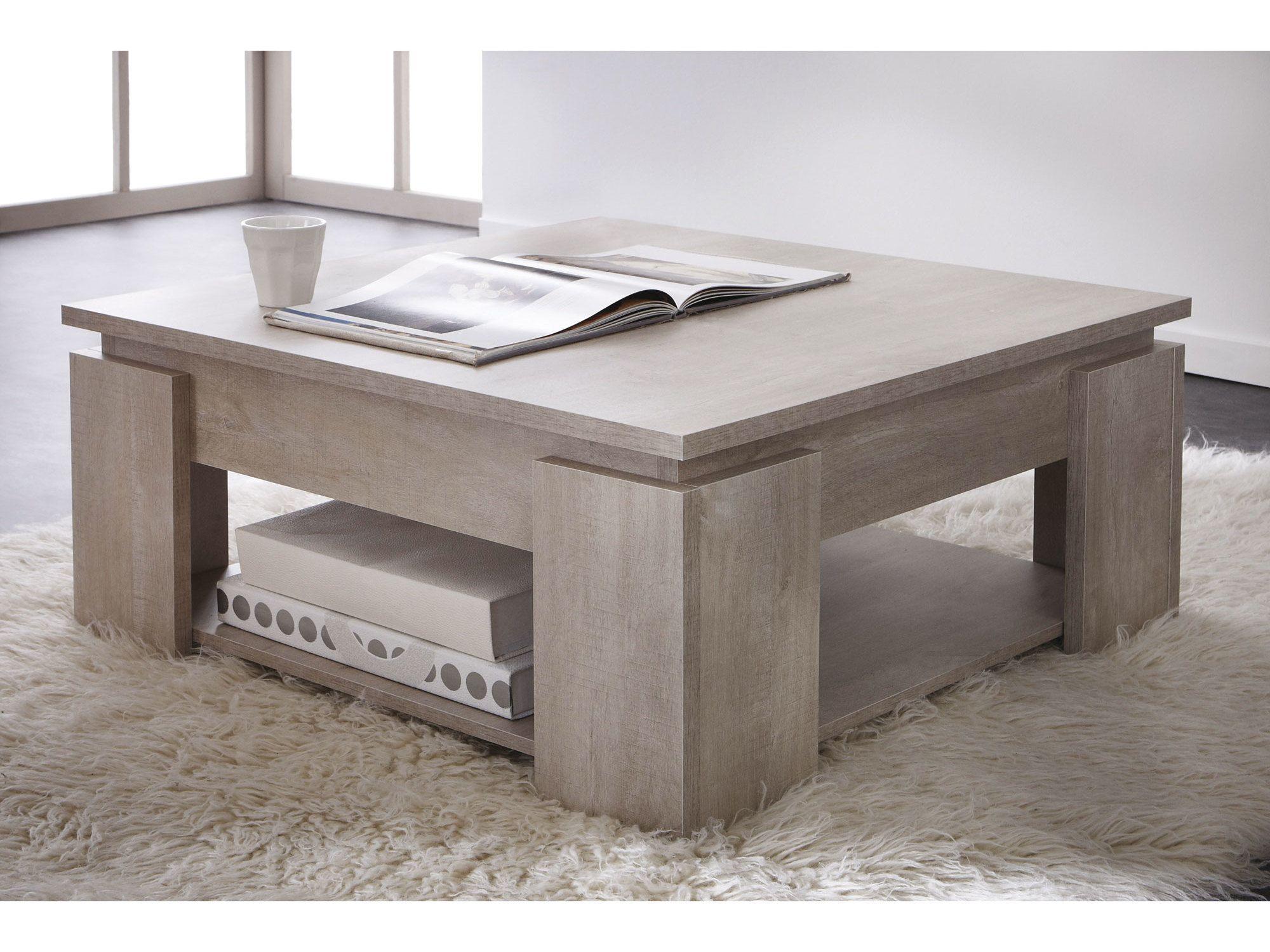 Table Basse Carr E En Bois Double Plateau Longueur 80 Cm Segur  # Kreabel Meuble Tv