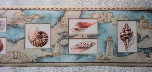 Wallpaper Border Nautical Map Sea Shells Lighthouses Peach Blue