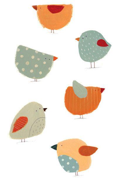 Cute birds Formen ggf aus buntem Geschenkpapier ausschneiden/reißen ...
