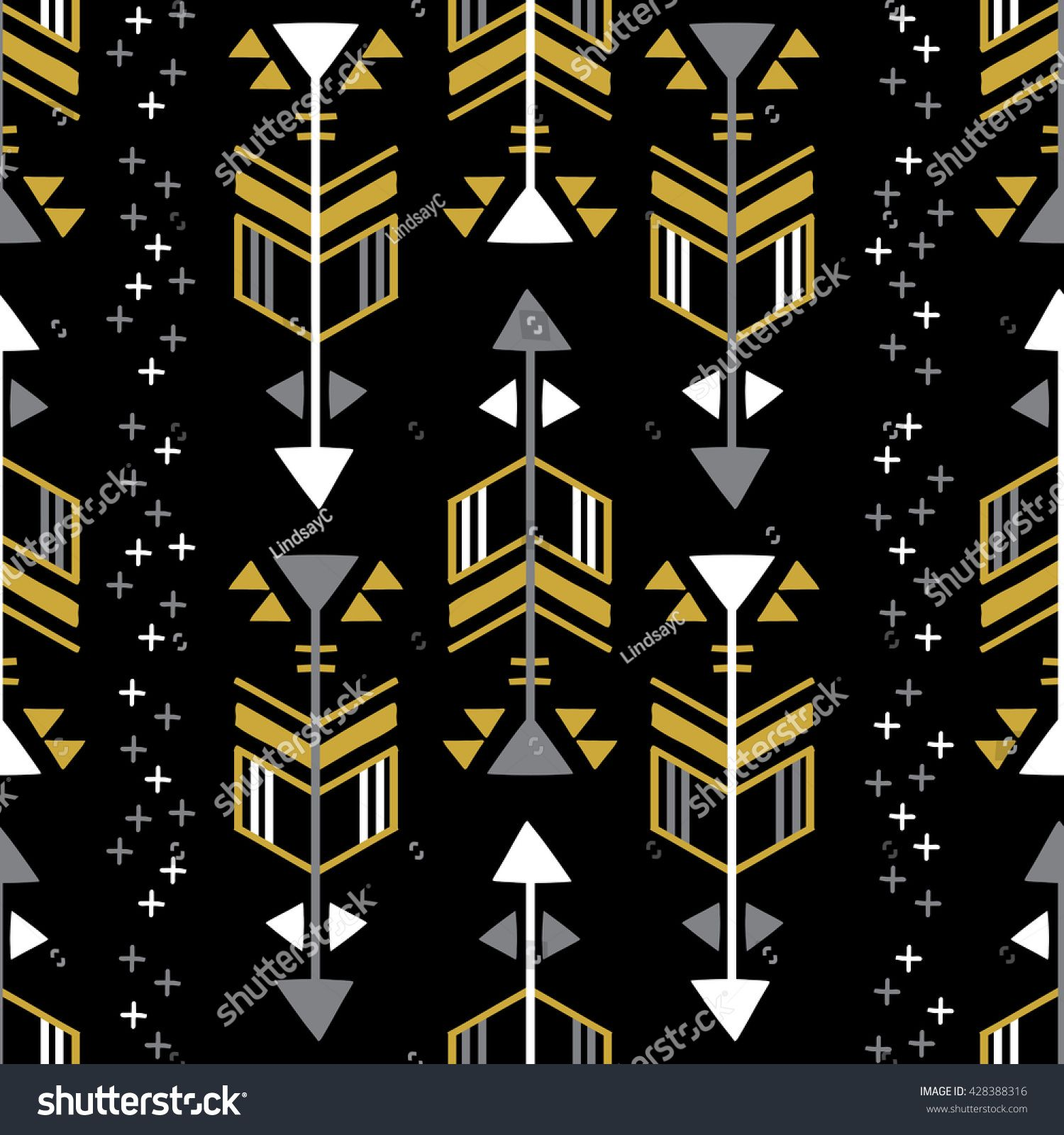 Black and Gold Geometric Arrow Seamless Repeat Wallpaper