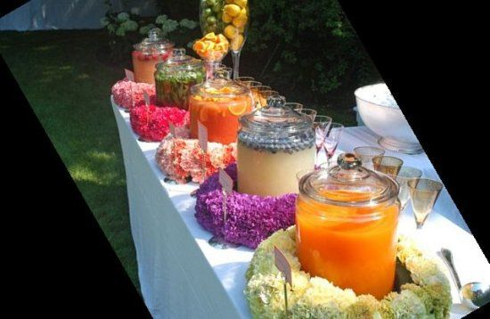 Instead of alcohol, go for juices which look just as good for a cheap wedding - http://casualweddingdresses.net/cheap-wedding-bridal-dream-wedding-for-every-budget/