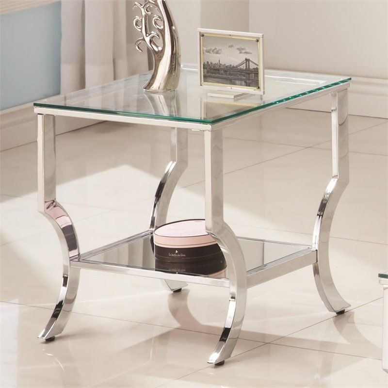 Coaster Square Glass Top End Table In Chrome Glass Top End