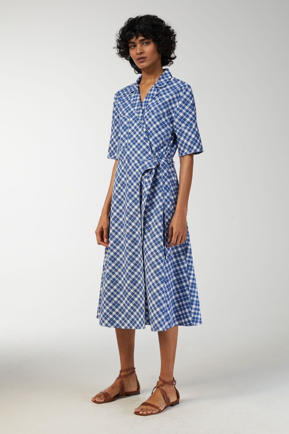deb8e3ddda51 234128-200O Checked Wrap Dress. With a crisp two-colour check, this wrap  dress is crafted from a plain weave of organic cotton. The short-sleeve top  has a ...
