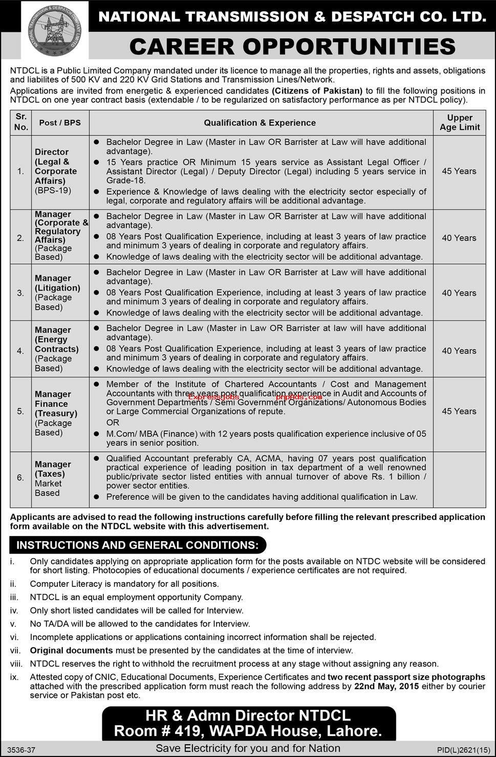 National Transmission  Despatch Company Limited Jobs