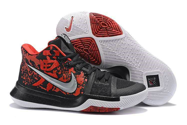0f1fcac41865 Mens Nike Zoom Kyrie 3 Basketball Shoes Samurai Online Black Red Silver  White