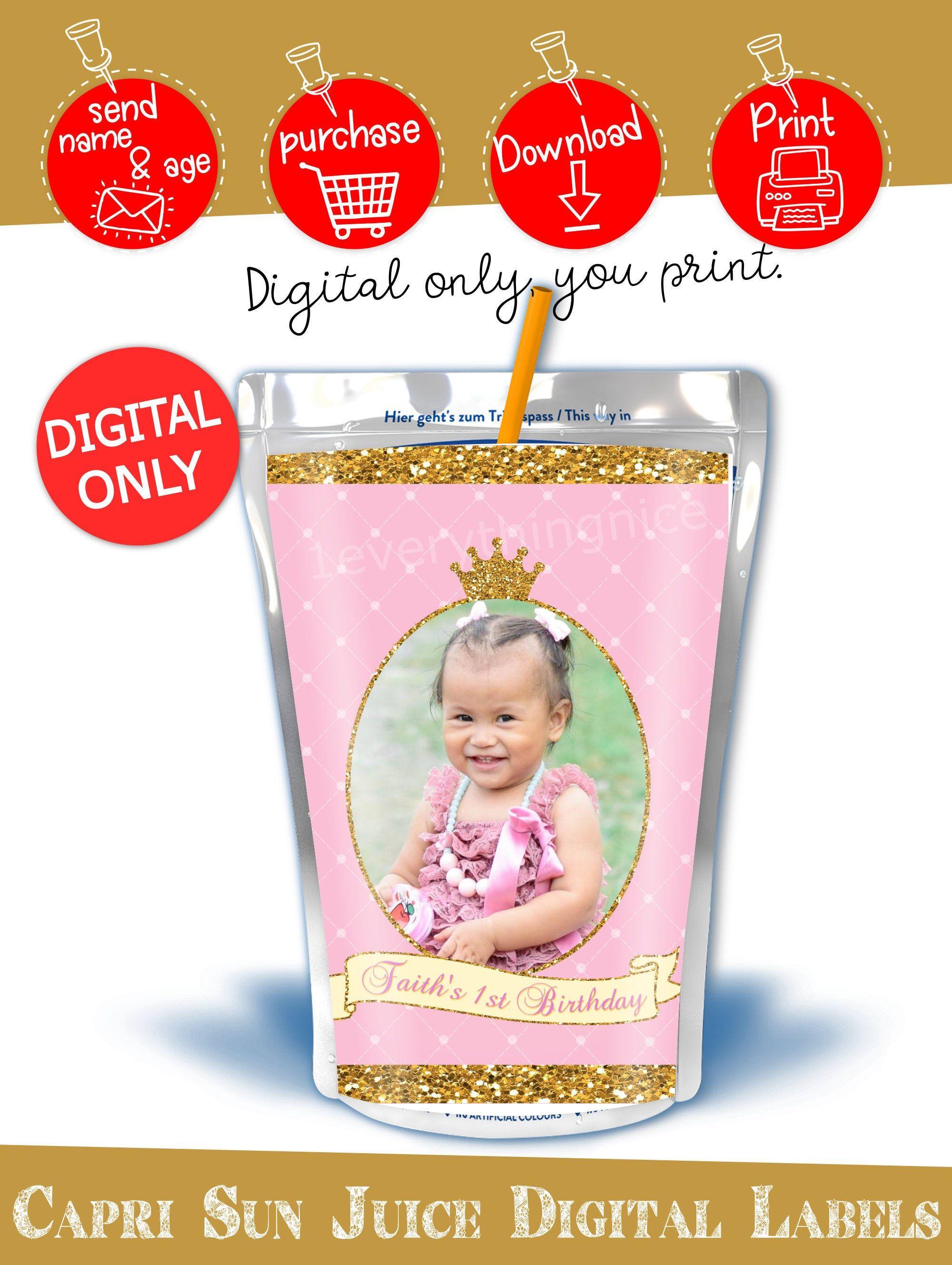 DIGITAL DOWNLOAD Princess Theme Pink and Gold Capri Sun