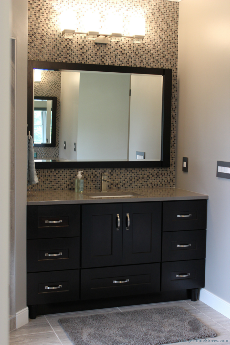 A Dark #cherry #bathroom #vanity Paired With Gray #quartz Counters Extraordinary Cherry Bathroom Vanity Design Decoration