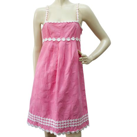 Juicy Couture Knee Length Hearts & Flowers Pink Cotton Summer Dress Size 4 authentic