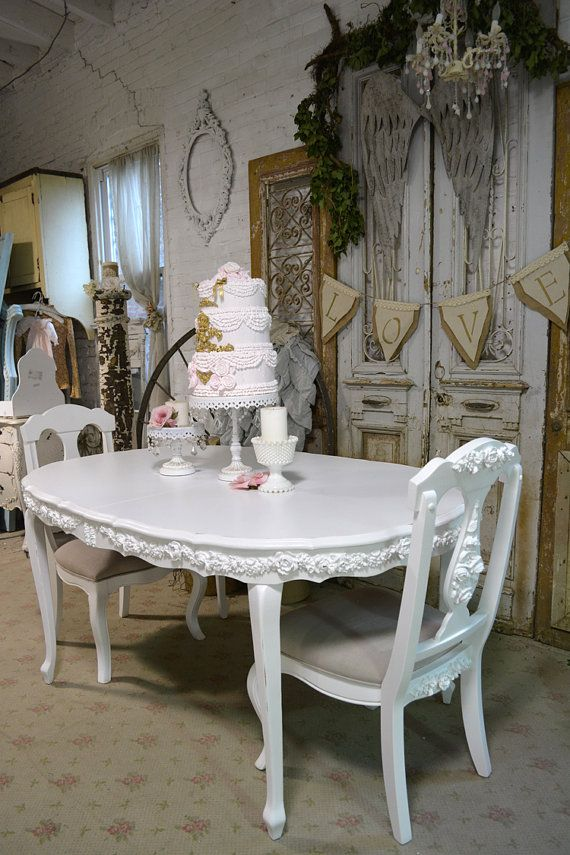 Dining Table Painted Cottage Chic Shabby White by paintedcottages ...